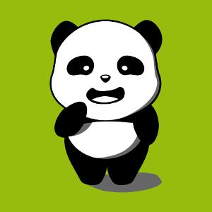 T-shirt panda dessiné en style kawaii. Panda debout 3 couleurs à imprimer en ligne.