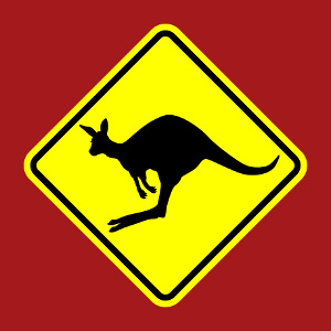 Panneau kangourou parodique ave un kangourou qui saute.