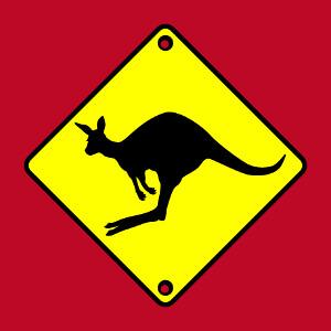 Tee-shirt Panneau routier et kangourou qui saute à créer et personnaliser en ligne.