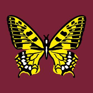 Imprimez votre t-shirt papillon en ligne avec ce motif 3 couleurs contrasté en tons jaunes et lignes noires avec des touches de blanc. Un design natur