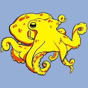 Pieuvre à imprimer sur t-shirt. Design Océan et vie de la mer. Créer un t-shirt pieuvre original.