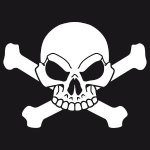 Créer votre tee-shirt pirate original en ligne avec cette tête de mort blanche à personnaliser soi-même.