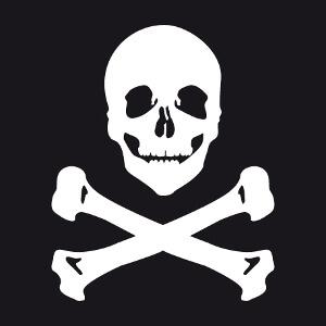 Emblème pirate souriant à imprimer en blanc sur noir. Tête de mort et os croisés.