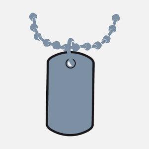 Plaque militaire à personnaliser et imprimer avec effet métallique sur t-shirt.