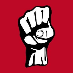 Pictogramme poing levé, un symbole révolutionnaire.