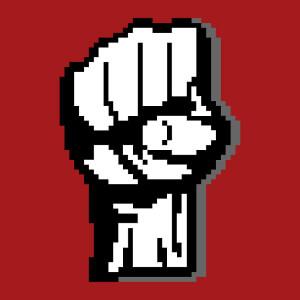Poing levé dessiné en pixel art, un design geek révolutionnaire.