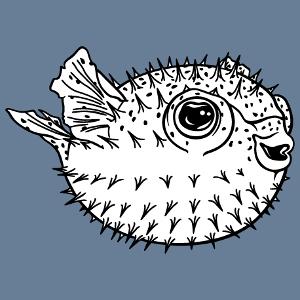 Poisson globe rigolo à imprimer en ligne. Design Océan et poissons de mer. Puffer fish rond.