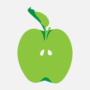 Pomme coupée en deux avec deux pépins et des feuilles dentelées, un design fruit.