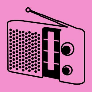 Poste de radio vintage en tracés épais, un design musique.