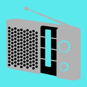 Poste radio retro personnalisable dessiné en format vectoriel pour personnalisation de t-shirt.