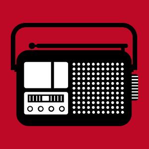 Picto de poste radio vintage dessiné de face.