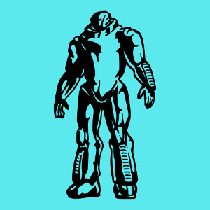 Imprimez un t-shirt robot en ligne avec ce design de robot massif et stylisé.