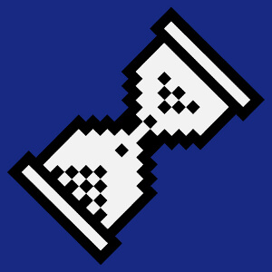 Sablier en pixels, design curseur geek et pixel art.