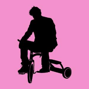 Meme internet de Sad Keanu, variante avec tricycle, un design humour geek personnalisable.