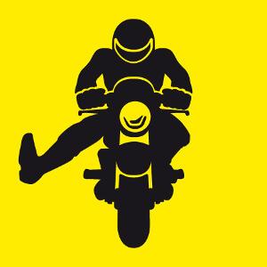 Accessoire Salut de motard dessiné de face levant le pied à personnaliser soi-même.