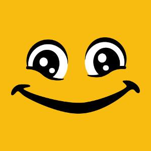 Smiley aux grands yeux ronds plissés par le rire.