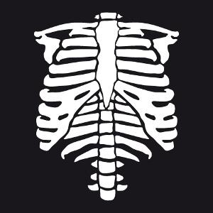 Squelette stylisé personnalisable à imprimer en phosphorescent pour créer un t-shirt d'Halloween en ligne.