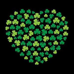 Design cœur Saint patrick composé de trèfles irlandais à trois feuilles.