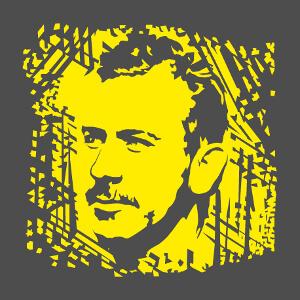 Portrait de Steinbeck à imprimer en blanc ou couleur claire sur vêtemen sombre.