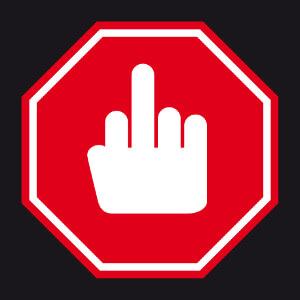 Panneau de signalisation parodique avec un picto de doigt.