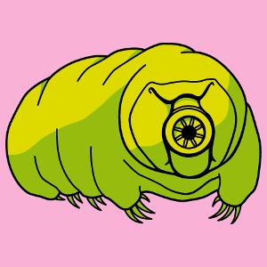 T-shirt science à personnaliser soi-même, tardigrade mignon dessiné en 3 couleurs opaques.