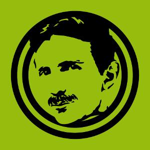 Portrait en médaillon de Nikola Tesla, design une couleur en tracés et applats épais. Créez un t-shirt geek original pour Tesla Day.