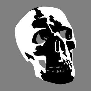 Article Tête de mort stylisée semi réaliste customisé en ligne.