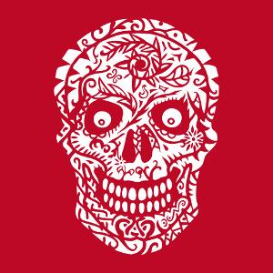 Tête de mort fleurie à imprimer sur t-shirt noir.