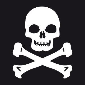 Tête de mort carrée à imprimer en blanc sur t-shirt noir.
