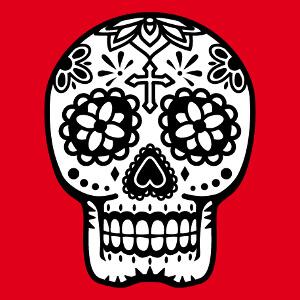 Tête de mort Mexique à fleurs et croix.