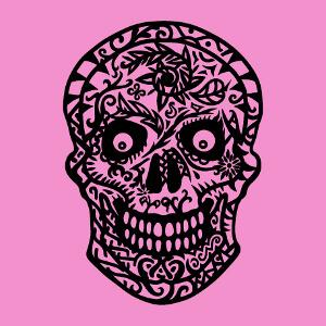 Tee-shirt Tête de mort décorée de fleurs à personnaliser soi-même.