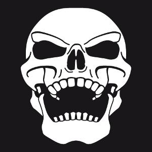 Tee shirt tête de mort personnalisable. Crâne de pirate ricanant, tête de mort penchée vers l'arrière.