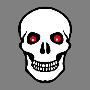 Tête de mort blanche à contours noirs et yeux rouges flamboyants.
