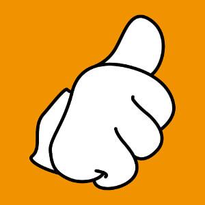 Thumb up! Pouce levé et gant de Mickey, design spécial impression personnalisée à l'unité.