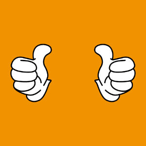 Thumbs up, pouces écartés et levés, un design 2 couleurs spécial impression de t-shirt.