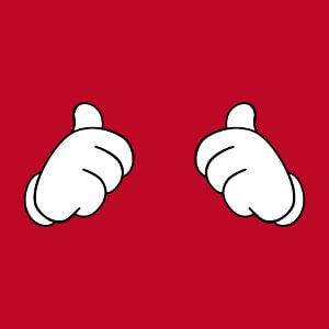 Design thumbs up vectorisé à personnaliser, gants de Mickey opaques à contour.