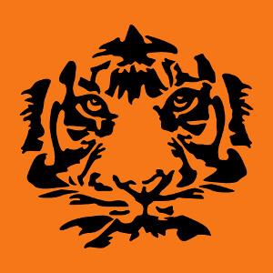 Tigre stylisé une couleur spécial impression t-shirt ou accessoire.