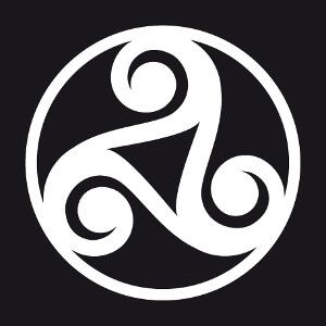 Triskel à trois branches à personnaliser, avec trois spirales épaisses symétriques.