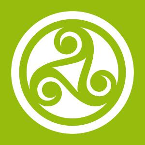 Triskel celte découpé dans un rond plein, motif à 3 branches personnalisable.