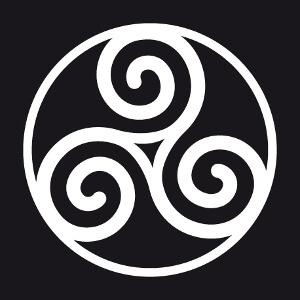 Triskel à tracés fins entouré d'un cercle, un motif breton et celtique.