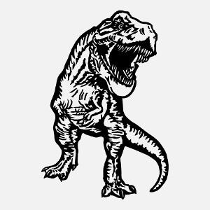 Tyrannosaurus rex une couleur, imprimez votre t-shirt dinosaure en ligne.