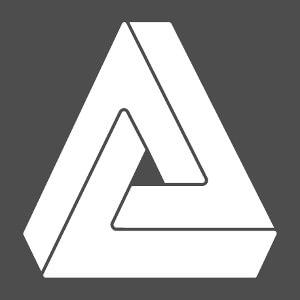 Illusion d'optique une couleur composée d'un triangle impossible aux côtés séparés par des espaces fins.