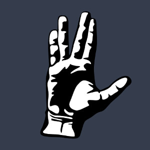 Salut geek, je viens en paix, message vulcain stylisé en deux couleurs.