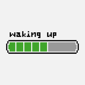 Waking up, barre de batterie dessinée en pixels, un design geek et humour.