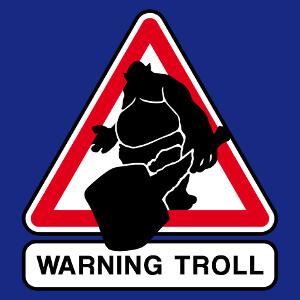 Troll et massue, pictogramme geek sortant d'un panneau de signalisation.