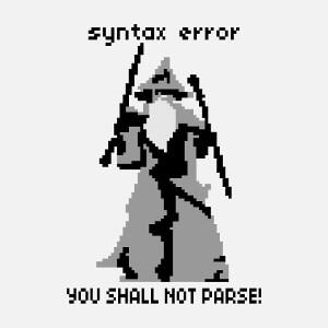 Blague de développeur, you shall not parse, et picto en pixel art de Gandalf levant bâton et épée.
