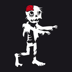 Zombie rigolo, un design Halloween deux couleurs.