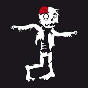 T-shirt Zombie rigolo dessiné bras écartés et titubant personnalisé.