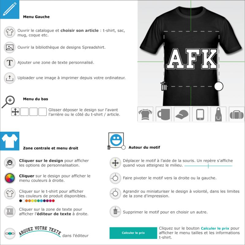 Tee shirts AFK majuscules à créer soi-même