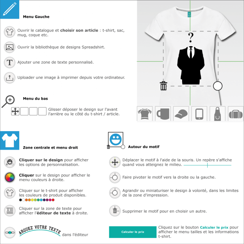 Personnaliser un t-shirt Anonymous point d'interrogation customisé